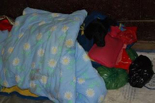 Post-op patient bundled up